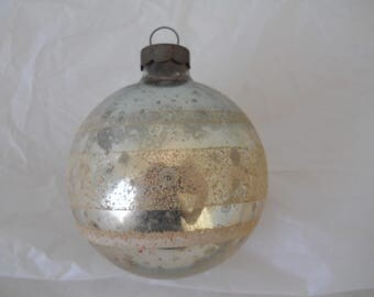 Vintage Stenciled Silver Glass Ball Christmas Ornament with White Stripes