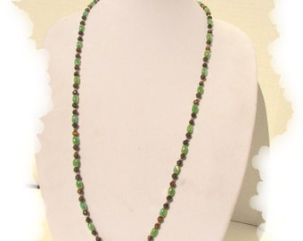 EHMN #71  Lengthy Tiger's Eye and GREEN OVAL Necklace