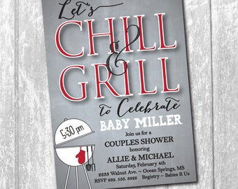 Baby Q Shower Invitation digital printable/couples baby shower, grill, chill, bbq, cookout, couples cookout/Wording & Colors can be changed