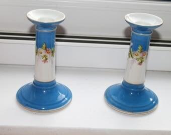 Vintage Blue & White China Candlesticks (Pair)