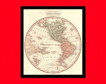 Old Map of Western Hemisphere Old map Art Reproduction Office decoration Vintage Retro Map Reproduction Vintage Map Reproductiont
