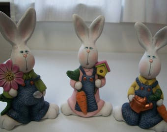 Ceramic Easter bunnies set of three