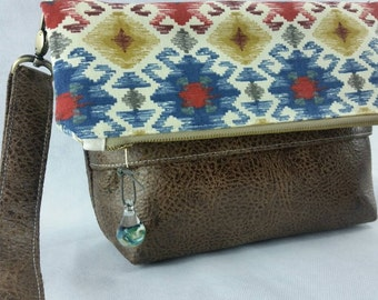 Aztec and faux leather crossbody, zipper pouch, vegan leather, cruelty free bags, boho, festival fashion
