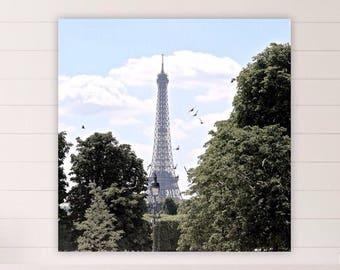 Square Fine Art Print, Eiffel Tower framed White Clouds, Paris Print