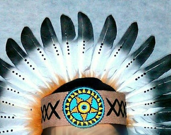 TOTAL SALE Native American inspired Headband, Indian style Headdress, Beaded  Feather Headdress, Edc, Rave Outfit,  Masquerade, Wonderland
