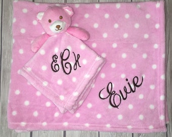 MANY COLORS! Custom monogrammed baby blanket and lovey set!