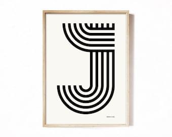 Letter J - modern typography alphabet print.