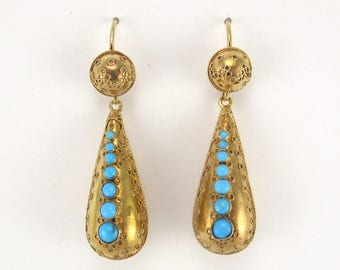 Antique Victorian Gold and Turquoise Convertible Earrings