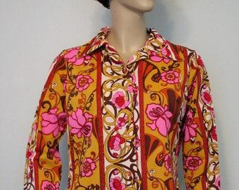 Vintage Blouse Pink Mod MLM Art Nouveau Style Blouse 1970s Top