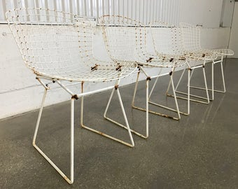 AUTHENTIC Knoll Bertoia Chairs SET of 4 Original Vintage Models w/ Chippy White Paint MCM Mid Century Modern Retro Industrial Shabby Chic