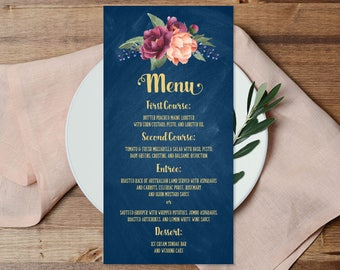 Marsala Wedding Menu Card / Peonies, Berries, Navy Chalkboard, Blush Ranunculus, Gold and Navy ▷ Printable File {or} Printed & Shipped