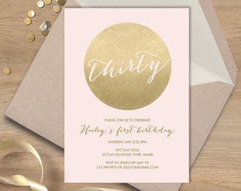 Blush and Gold Birthday Invitation / Metallic Gold and Blush / Faux Gold Invite / Thirtieth Birthday ▷ Printable File {or} Printed & Shipped