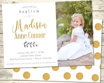 Girl's LDS Baptism Invitation | Gold, Gray and White Polka Dot front and back | Mormon Baptism Announcement | Digital Printable