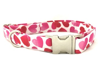 Red and White Valentine's Day Hearts Dog Collar - Valentine Dog Collar - Hearts Dog Collar - Modern Dog Collar - Girl Dog Collar - Trendy
