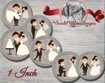 Wedding Bride and Groom Bottle Cap Image - 1 inch circles- 600dpi, Collage Sheet, Flower Girl Bows, Shower Gift Tags, Labels, BottleCap