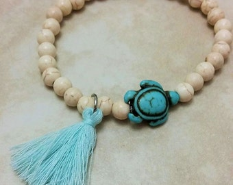 Turquoise Turtle Charm Tassel Stone Bracelet Elastic 7.5 Inches