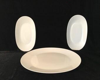 Vintage Classic Rosenthal Studio Linie Line White Oval Serving Platters Set of 3 Fine German Porcelain
