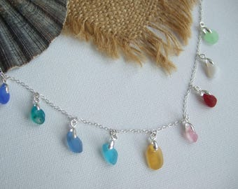 Rainbow sea glass necklace, multi coloured sea glass necklace, Seaham rainbow color necklace, Scottish sea glass necklace, mermaids tears