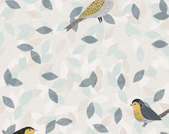 Yellow and Grey Bird Print Cotton Quilting and Patchwork Fabric - Fat Quarter