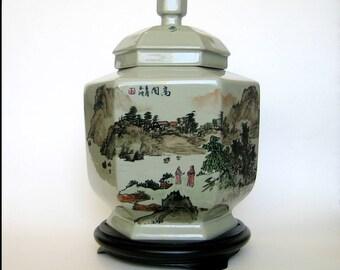 Large Asian-China-Taiwan Ginger Jar, Hexagonal shape, Porcelain with celadon glaze, Like new condition, Label dates back to 1960's, Elegant!