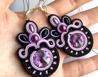 Black Lilac Pink Earrings, Long Earrings, Modern Earrings, Black Jewelry, Gift For Girlfriend, Punk Style Earrings, Glamour Jewelry