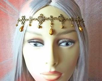 Gold & Bronze Celtic Medieval Headdress, Medieval Bridal Headpiece, Celtic Princess Tiara, Renaissance Circlet, Celtic Wedding, Bridal Crown