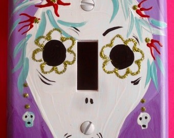 Stylish Lady Day of the Dead single switchplate