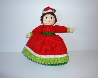 Knitted Topsy Turvy doll. Knitted Christmas doll. Knitted Upside down doll. Knitted toy. Christmas knitted toy. Hand knit doll.