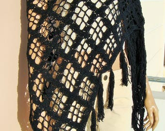 black crochet shawl, black triangle cotton shawl, black summer shawl