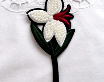 Lotus Patches/White Flower Patch/Pearl Flower Applique/Pearl Embroidered Patch /Sew On Patch/