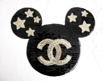 CC Mickey Mouse Patch, Iron On Mickey Patch,Sequin Mickey Applique,Black Mickey,Star Mickey Patch,Large Mickey Applique,mickey