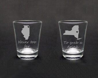 Set of Two Best Friends Shot Glasses - Best Friends Gift - Long Distance Friends Gift - Long Distance Love Gift -