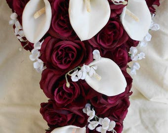 Burgundy roses and white calla lilies 2 pieces bouquet (grooms bout Free) Bride cascading bouquet