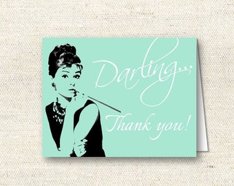 Breakfast at Tiffany's Thank You Card - Blue | INSTANT DOWNLOAD