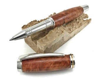 Rollerball Pen - Wooden Pen - Handcrafted with Red River Gum Burl and Rhodium Hardware - includes FREE gift box