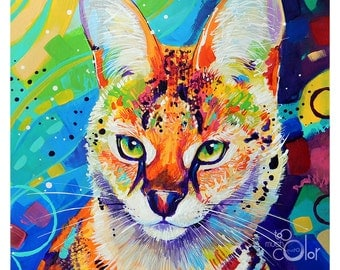 "Serval - Original colorful traditional acrylic painting on paper 8.5""x11"""