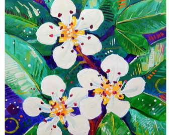 "Small White Flowers - Original colorful traditional acrylic painting on paper 8.5""x11"""