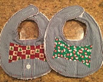 Set of cute baby bibs, newborn bib, Christmas bibs, handmade bibs, newborn or baby shower gift