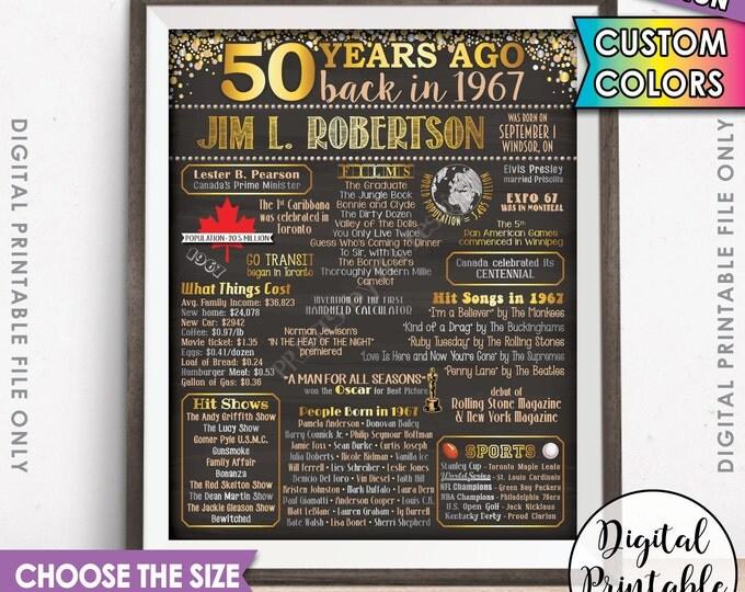 50th Birthday Gift 1967 Poster CANADA Flashback 50 Years Ago Born in 1967 Birth 50th B-day Gift Chalkboard Style Digital Printable File
