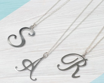 Sterling Silver Oversized Initial Necklace