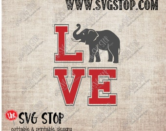 Alabama Elephant Love design Svg, Dxf, Jpg, Png, & Eps files for Silhouette Cricut Vinyl Cutting and Printing