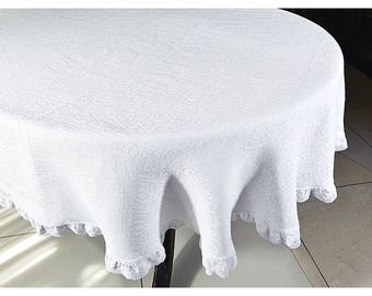 White jacquard   linen tablecloth Wedding Cotton lace edge, 104 120 140 84 inch large custom  eco Prewashed and softened table cloth