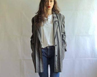 Vintage Striped Oversized and Slouchy Women's Blazer