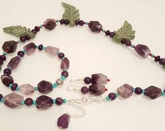 Precious Garden of Leaves,Jade Amethyst Coral  Turquoise Sterling Silver Necklace and Amethyst Coral Sterling Silver Earrings.