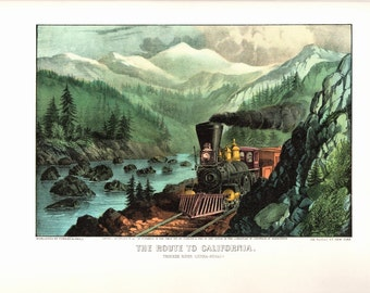Route to California an Extra Large bookplate from Currier and Ives. The page is 18 3/4 inches wide and 14 inches tall.