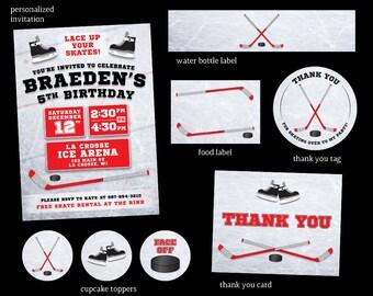 Hockey Birthday Party Invitation | Hockey Party Package | Red