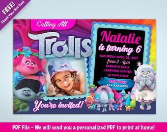 Personalized Trolls Birthday Party Invitation  | Poppy | Branch | Bridget  | with Photo I DIGITAL DOWNLOAD - PDF File
