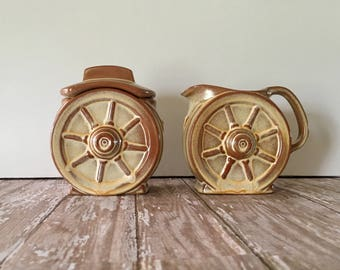 Vintage Frankoma,Desert Gold Frankoma, Wagon Wheel Frankoma, Frankoma Creamer and Sugar Set, Frankoma Sugar Bowl, Frankoma Creamer
