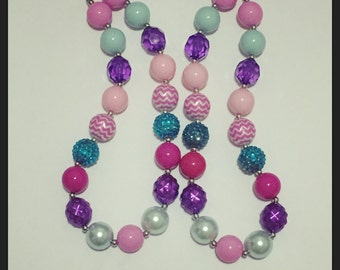 Pink, purple and turquoise chunky necklace