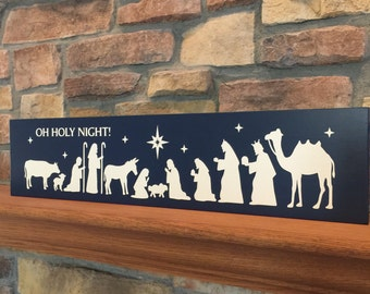 Nativity Sign - Christmas Decor - Nativity sign - Christmas Sign - Oh Holy Night Sign - Manger Sign - Baby Jesus